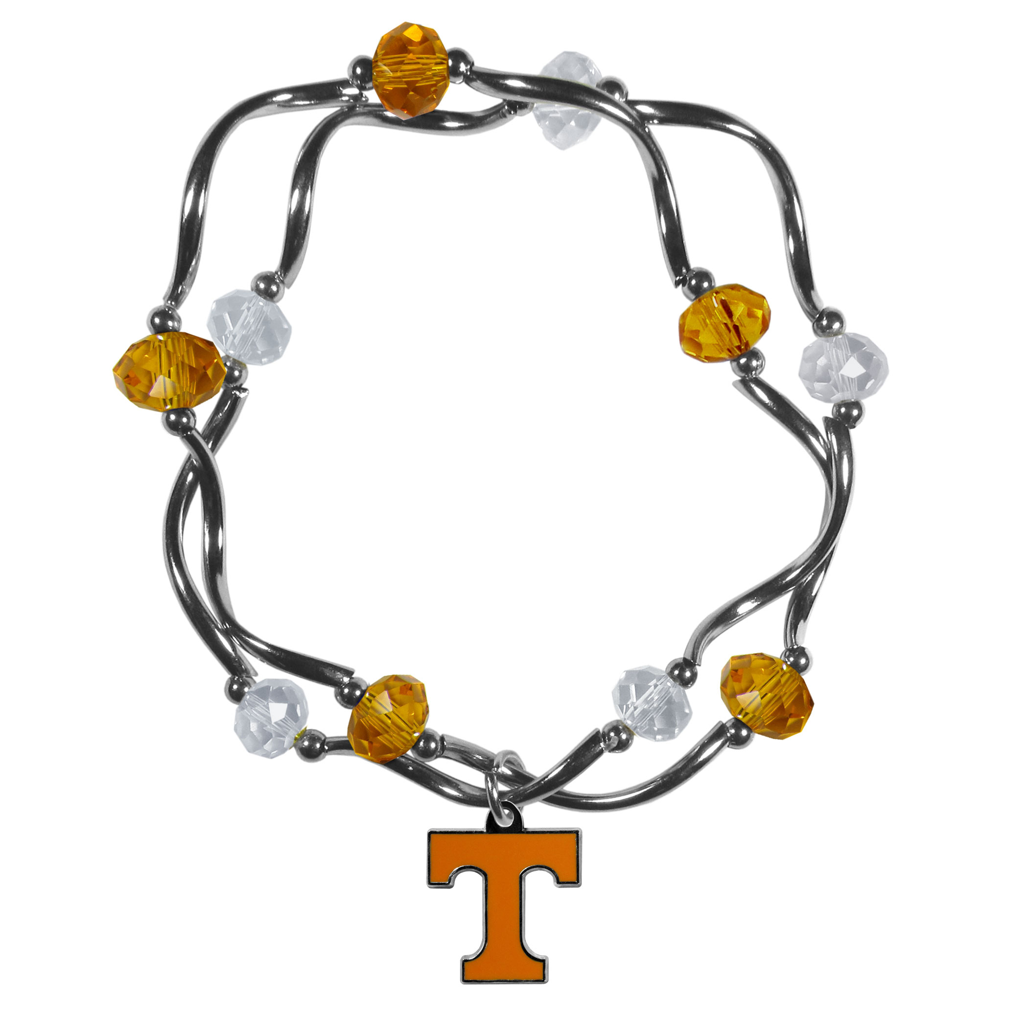 Tennessee Volunteers Crystal Bead Bracelet - This delicate bead bracelet has eye-catching team colored beads that are strung on 2 stretch cords that provide a comfortable and easy fit. The crystals are separated by beautiful helix beads in high polish chrome for a truly designer inspired look. The 2 strands of beads intertwine for a fun and stylish bracelet. This chic accessory is finished off with a Tennessee Volunteers team charm that has expertly carved detail and an enameled color finish. A contemporary look to thrill any female sports fan. Whether this a gift for yourself or someone special you cannot miss with this trend-setting fashion bracelet.