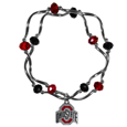 Ohio St. Buckeyes Crystal Bead Bracelet - Officially licensed crystal bead bracelet with team colored crystal separated with chrome helix beads. The bracelet features a Ohio St. Buckeyes charm with exceptional detail.