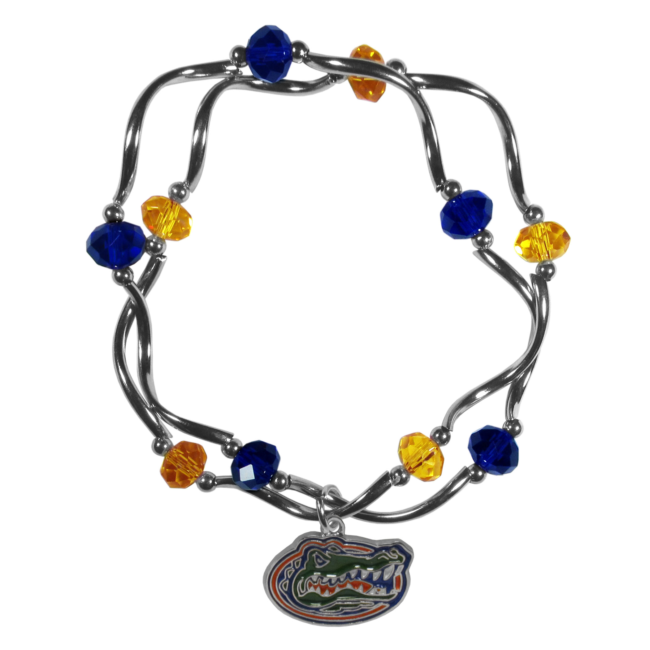 Florida Gators Crystal Bead Bracelet - This delicate bead bracelet has eye-catching team colored beads that are strung on 2 stretch cords that provide a comfortable and easy fit. The crystals are separated by beautiful helix beads in high polish chrome for a truly designer inspired look. The 2 strands of beads intertwine for a fun and stylish bracelet. This chic accessory is finished off with a Florida Gators team charm that has expertly carved detail and an enameled color finish. A contemporary look to thrill any female sports fan. Whether this a gift for yourself or someone special you cannot miss with this trend-setting fashion bracelet.