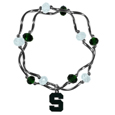 Michigan St. Spartans Crystal Bead Bracelet - This is a officially licensed Michigan St. Spartans Crystal Bead Bracelet with team colored crystal separated with chrome helix beads. The Michigan St. Spartans Crystal Bead Bracelet features a Michigan St. Spartans charm with exceptional detail.