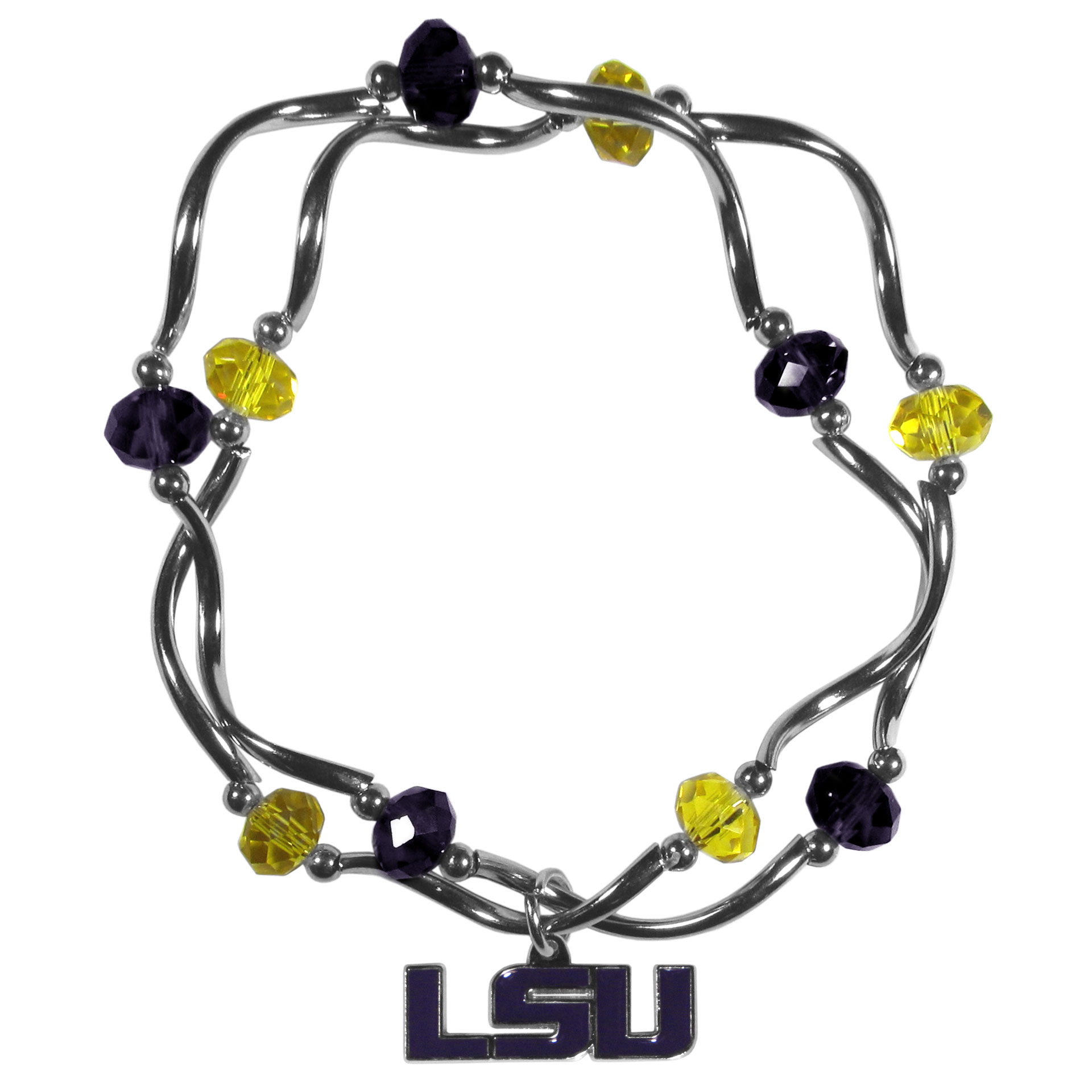 LSU Tigers Crystal Bead Bracelet - This delicate bead bracelet has eye-catching team colored beads that are strung on 2 stretch cords that provide a comfortable and easy fit. The crystals are separated by beautiful helix beads in high polish chrome for a truly designer inspired look. The 2 strands of beads intertwine for a fun and stylish bracelet. This chic accessory is finished off with a LSU Tigers team charm that has expertly carved detail and an enameled color finish. A contemporary look to thrill any female sports fan. Whether this a gift for yourself or someone special you cannot miss with this trend-setting fashion bracelet.