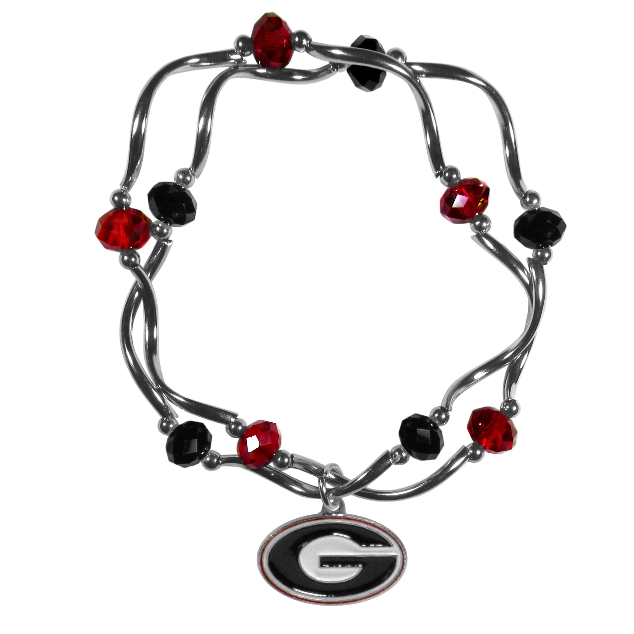 Georgia Bulldogs Crystal Bead Bracelet - This delicate bead bracelet has eye-catching team colored beads that are strung on 2 stretch cords that provide a comfortable and easy fit. The crystals are separated by beautiful helix beads in high polish chrome for a truly designer inspired look. The 2 strands of beads intertwine for a fun and stylish bracelet. This chic accessory is finished off with a Georgia Bulldogs team charm that has expertly carved detail and an enameled color finish. A contemporary look to thrill any female sports fan. Whether this a gift for yourself or someone special you cannot miss with this trend-setting fashion bracelet.
