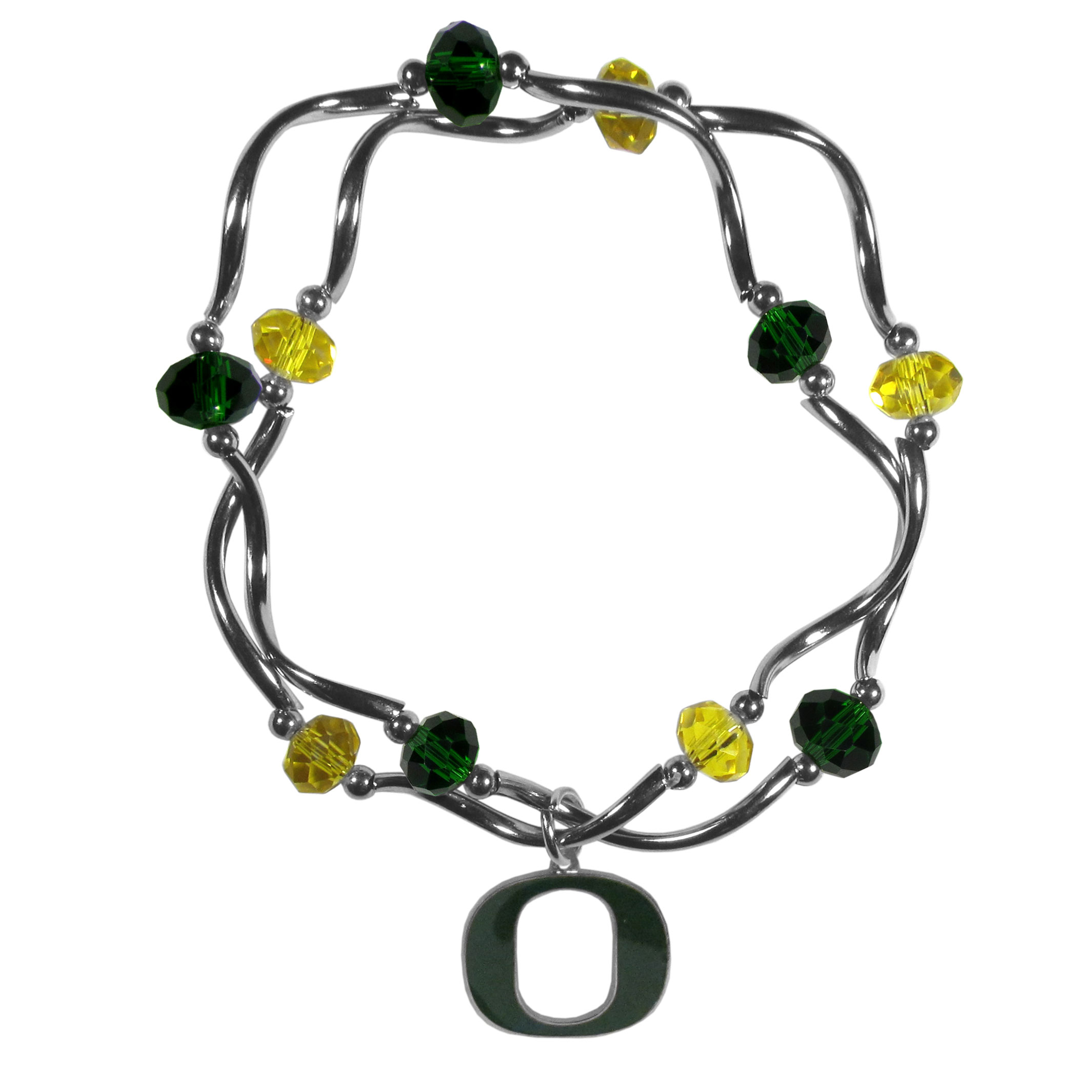 Oregon Ducks Crystal Bead Bracelet - This delicate bead bracelet has eye-catching team colored beads that are strung on 2 stretch cords that provide a comfortable and easy fit. The crystals are separated by beautiful helix beads in high polish chrome for a truly designer inspired look. The 2 strands of beads intertwine for a fun and stylish bracelet. This chic accessory is finished off with a Oregon Ducks team charm that has expertly carved detail and an enameled color finish. A contemporary look to thrill any female sports fan. Whether this a gift for yourself or someone special you cannot miss with this trend-setting fashion bracelet.