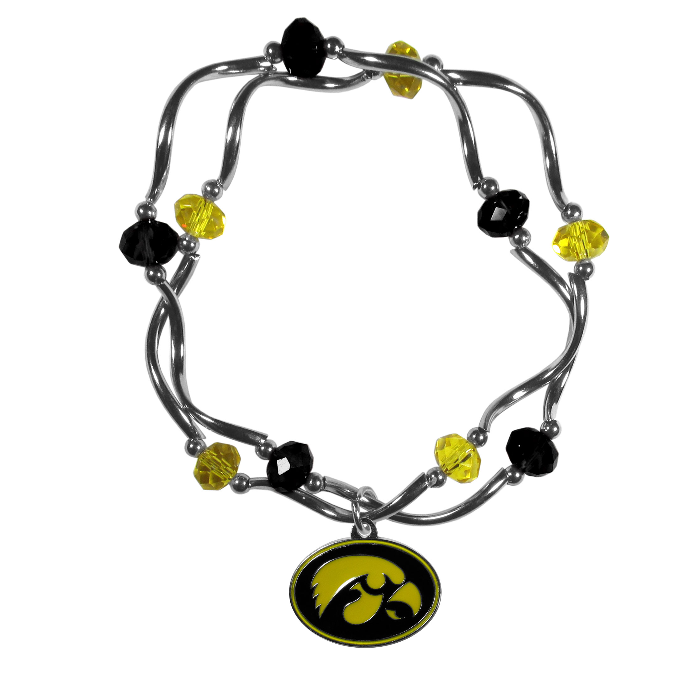 Iowa Hawkeyes Crystal Bead Bracelet - This delicate bead bracelet has eye-catching team colored beads that are strung on 2 stretch cords that provide a comfortable and easy fit. The crystals are separated by beautiful helix beads in high polish chrome for a truly designer inspired look. The 2 strands of beads intertwine for a fun and stylish bracelet. This chic accessory is finished off with a Iowa Hawkeyes team charm that has expertly carved detail and an enameled color finish. A contemporary look to thrill any female sports fan. Whether this a gift for yourself or someone special you cannot miss with this trend-setting fashion bracelet.