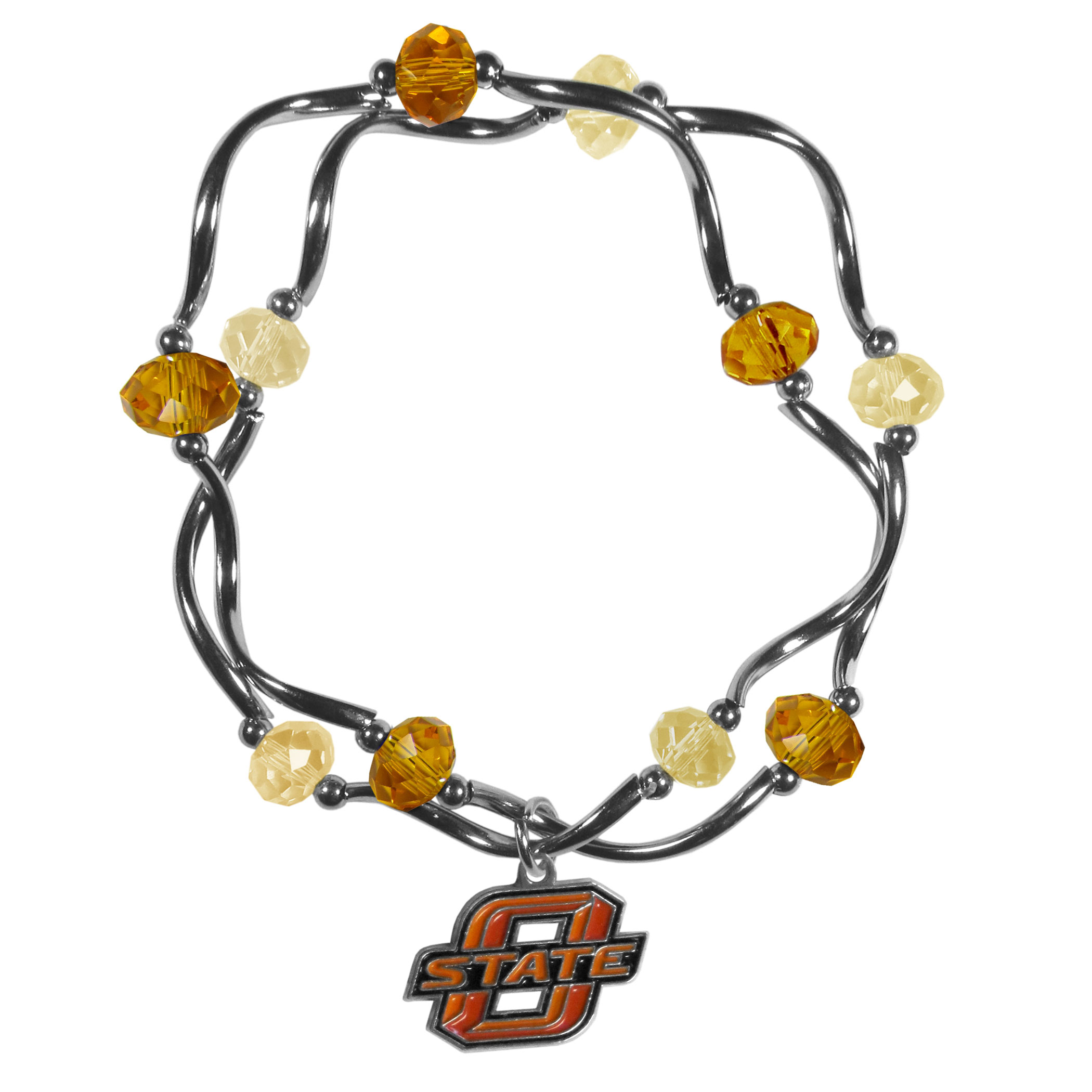 Oklahoma St. Cowboys Crystal Bead Bracelet - This delicate bead bracelet has eye-catching team colored beads that are strung on 2 stretch cords that provide a comfortable and easy fit. The crystals are separated by beautiful helix beads in high polish chrome for a truly designer inspired look. The 2 strands of beads intertwine for a fun and stylish bracelet. This chic accessory is finished off with a Oklahoma St. Cowboys team charm that has expertly carved detail and an enameled color finish. A contemporary look to thrill any female sports fan. Whether this a gift for yourself or someone special you cannot miss with this trend-setting fashion bracelet.