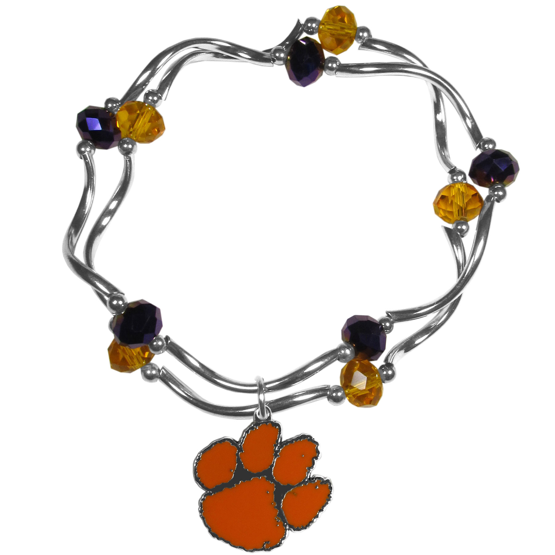 Clemson Tigers Crystal Bead Bracelet - This delicate bead bracelet has eye-catching team colored beads that are strung on 2 stretch cords that provide a comfortable and easy fit. The crystals are separated by beautiful helix beads in high polish chrome for a truly designer inspired look. The 2 strands of beads intertwine for a fun and stylish bracelet. This chic accessory is finished off with a Clemson Tigers team charm that has expertly carved detail and an enameled color finish. A contemporary look to thrill any female sports fan. Whether this a gift for yourself or someone special you cannot miss with this trend-setting fashion bracelet.