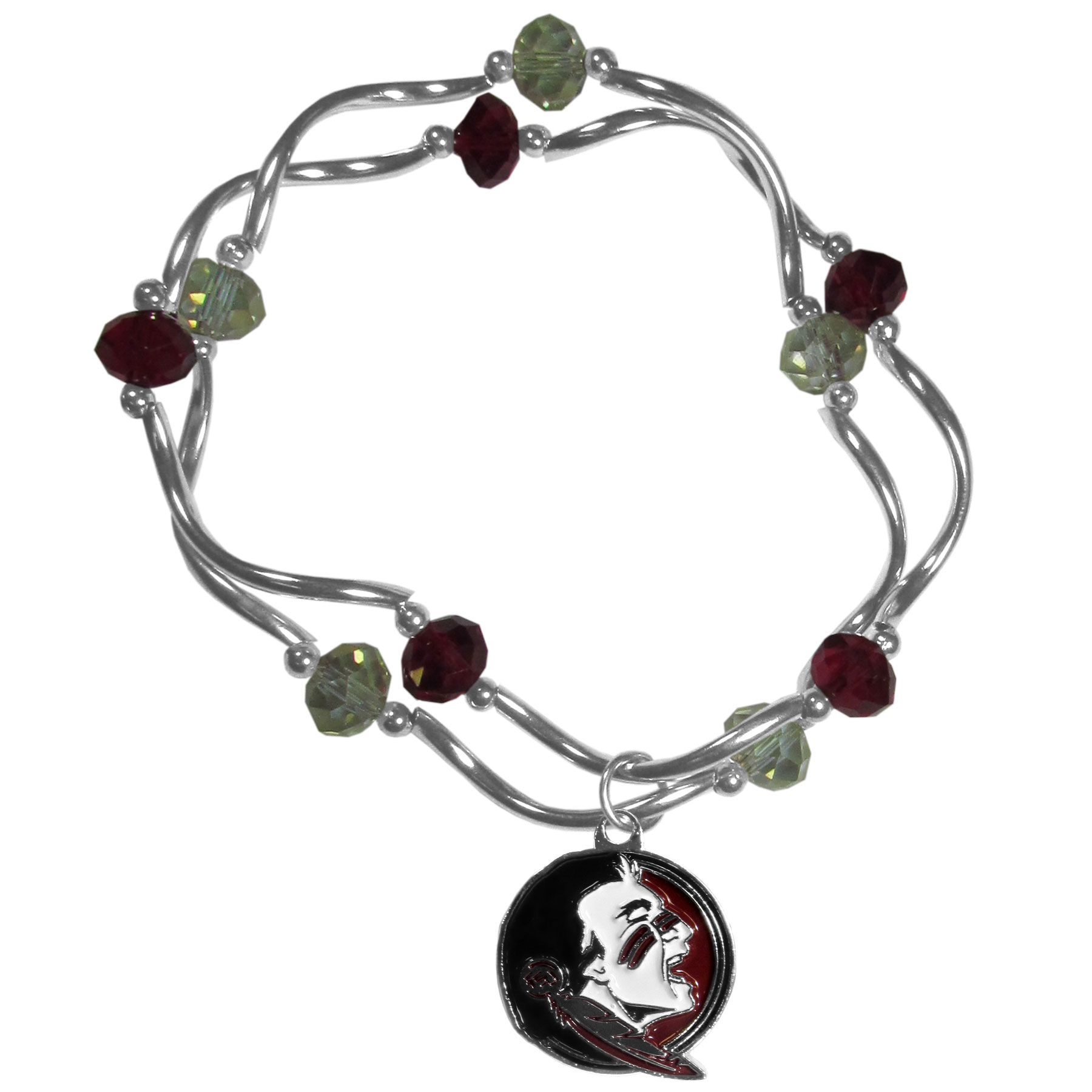 Florida St. Seminoles Crystal Bead Bracelet - This delicate bead bracelet has eye-catching team colored beads that are strung on 2 stretch cords that provide a comfortable and easy fit. The crystals are separated by beautiful helix beads in high polish chrome for a truly designer inspired look. The 2 strands of beads intertwine for a fun and stylish bracelet. This chic accessory is finished off with a Florida St. Seminoles team charm that has expertly carved detail and an enameled color finish. A contemporary look to thrill any female sports fan. Whether this a gift for yourself or someone special you cannot miss with this trend-setting fashion bracelet.