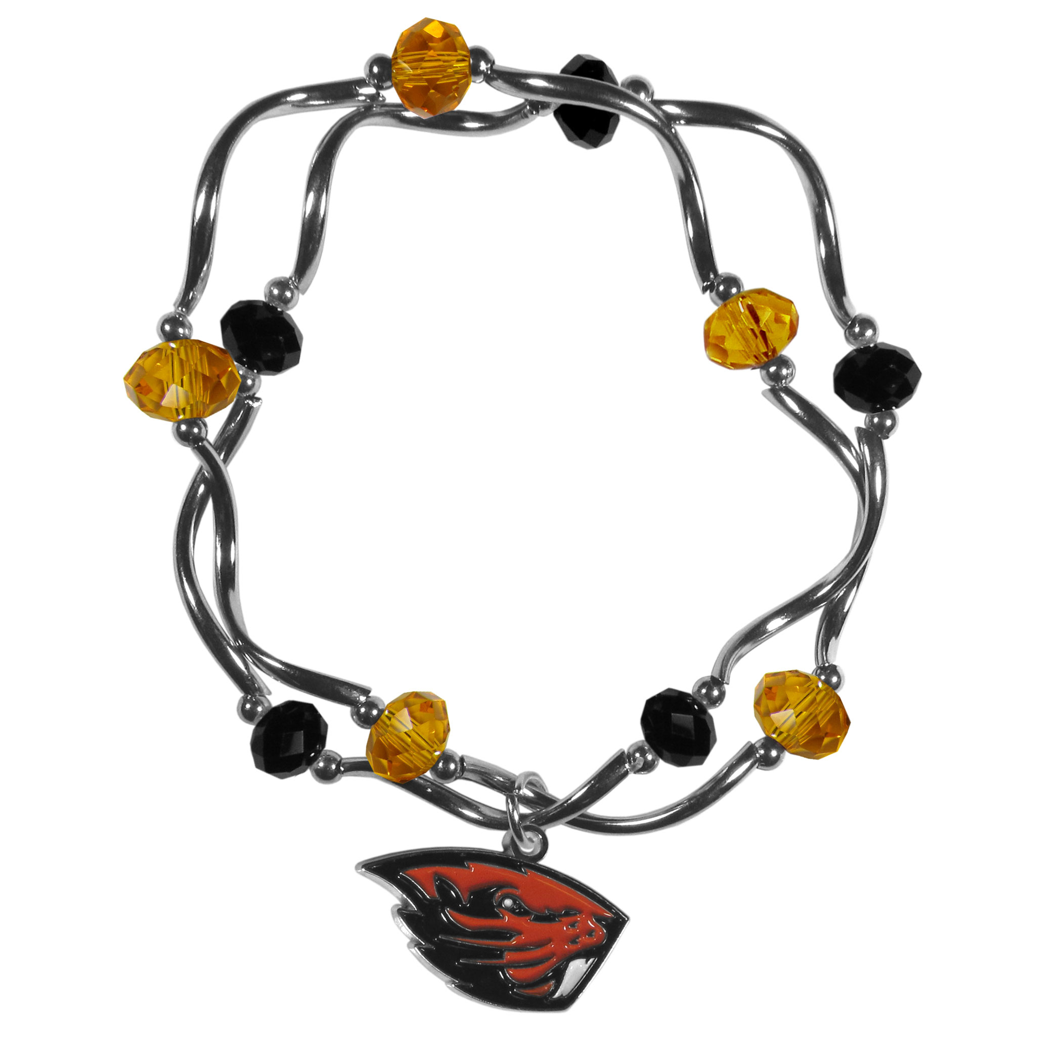 Oregon St. Beavers Crystal Bead Bracelet - This delicate bead bracelet has eye-catching team colored beads that are strung on 2 stretch cords that provide a comfortable and easy fit. The crystals are separated by beautiful helix beads in high polish chrome for a truly designer inspired look. The 2 strands of beads intertwine for a fun and stylish bracelet. This chic accessory is finished off with a Oregon St. Beavers team charm that has expertly carved detail and an enameled color finish. A contemporary look to thrill any female sports fan. Whether this a gift for yourself or someone special you cannot miss with this trend-setting fashion bracelet.