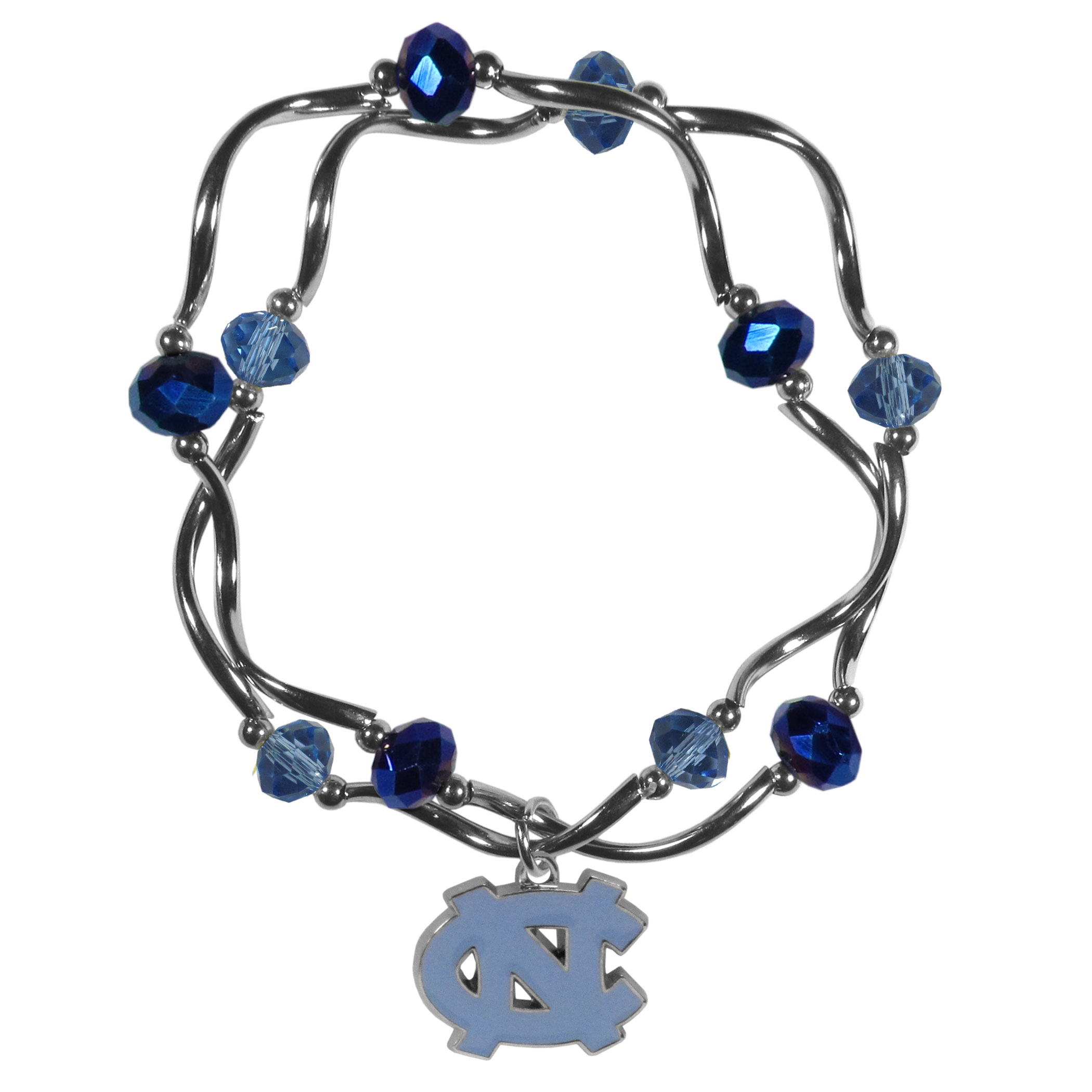 N. Carolina Tar Heels Crystal Bead Bracelet - This delicate bead bracelet has eye-catching team colored beads that are strung on 2 stretch cords that provide a comfortable and easy fit. The crystals are separated by beautiful helix beads in high polish chrome for a truly designer inspired look. The 2 strands of beads intertwine for a fun and stylish bracelet. This chic accessory is finished off with a N. Carolina Tar Heels team charm that has expertly carved detail and an enameled color finish. A contemporary look to thrill any female sports fan. Whether this a gift for yourself or someone special you cannot miss with this trend-setting fashion bracelet.