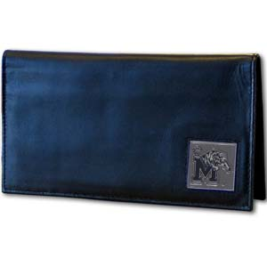 Memphis Tigers Checkbook Cover - Memphis Tigers deluxe college checkbook cover is made of high quality leather and includes a card holder, clear ID window, and inside zipper pocket for added storage. Memphis Tigers Checkbook Cover has a team logo square that is sculpted and enameled with fine detail. Thank you for shopping with CrazedOutSports.com