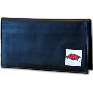 Deluxe College Checkbook Boxed- Arkansas Razorbacks - Our deluxe college checkbook cover is made of high quality leather and includes a card holder, clear ID window, and inside zipper pocket for added storage. Arkansas Razorbacks team logo square is sculpted and enameled with fine detail. Packaged in a windowed box. Thank you for shopping with CrazedOutSports.com