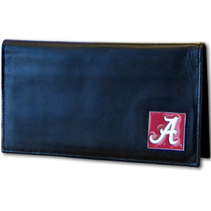 Deluxe College Checkbook Boxed- Alabama Crimson Tide - Our deluxe Alabama Crimson Tide college checkbook cover is made of high quality leather and includes a card holder, clear ID window, and inside zipper pocket for added storage. Alabama Crimson Tide logo square is sculpted and enameled with fine detail. Packaged in a windowed box. Thank you for shopping with CrazedOutSports.com
