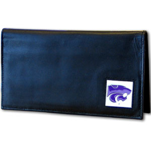 Deluxe College Checkbook Boxed- Kansas State Wildcats - This deluxe Kansas St. Wildcats college checkbook cover is made of high quality leather and includes a card holder, clear ID window, and inside zipper pocket for added storage. Team logo square is sculpted and enameled with fine detail. Packaged in a windowed box. Thank you for shopping with CrazedOutSports.com