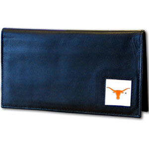 Deluxe College Checkbook Boxed- Texas Longhorns - Our deluxe college checkbook cover is made of high quality leather and includes a card holder, clear ID window, and inside zipper pocket for added storage. Team logo square is sculpted and enameled with fine detail. Packaged in a windowed box. Thank you for shopping with CrazedOutSports.com