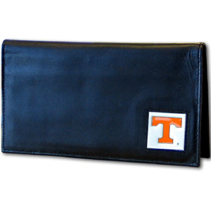 Deluxe College Checkbook Boxed- Tennessee Volunteers - Our deluxe college checkbook cover is made of high quality leather and includes a card holder, clear ID window, and inside zipper pocket for added storage. Team logo square is sculpted and enameled with fine detail. Packaged in a windowed box. Thank you for shopping with CrazedOutSports.com