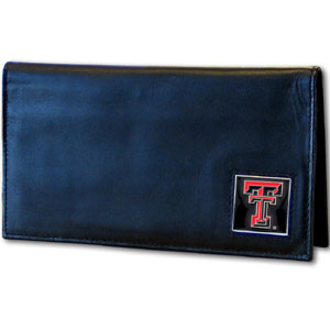 Deluxe College Checkbook Boxed- Texas Tech Raiders - Our deluxe college checkbook cover is made of high quality leather and includes a card holder, clear ID window, and inside zipper pocket for added storage. Team logo square is sculpted and enameled with fine detail. Packaged in a windowed box. Thank you for shopping with CrazedOutSports.com