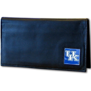 Deluxe College Checkbook Boxed- Kentucky Wildcats - Our deluxe college checkbook cover is made of high quality leather and includes a card holder, clear ID window, and inside zipper pocket for added storage. Team logo square is sculpted and enameled with fine detail. Packaged in a windowed box. Thank you for shopping with CrazedOutSports.com