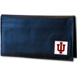 Deluxe College Checkbook Boxed- Indiana Hoosiers - Our deluxe college checkbook cover is made of high quality leather and includes a card holder, clear ID window, and inside zipper pocket for added storage. Team logo square is sculpted and enameled with fine detail. Packaged in a windowed box. Thank you for shopping with CrazedOutSports.com