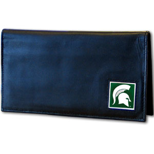 Michigan State Spartans Deluxe College Checkbook Cover - This Michigan State Spartans Deluxe College Checkbook Cover is made of high quality leather and includes a card holder, clear ID window, and inside zipper pocket for added storage. Team logo square is sculpted and enameled with fine detail. Michigan State Spartans Deluxe College Checkbook Cover is packaged in a windowed box. Thank you for shopping with CrazedOutSports.com
