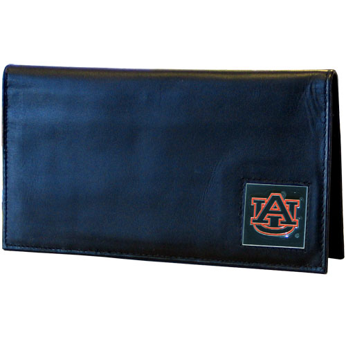 Deluxe College Checkbook Boxed- Auburn Tigers - Our deluxe college checkbook cover is made of high quality leather and includes a card holder, clear ID window, and inside zipper pocket for added storage. Auburn Tigers logo square is sculpted and enameled with fine detail. Packaged in a windowed box. Thank you for shopping with CrazedOutSports.com