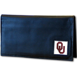Deluxe College Checkbooks Boxed- Oklahoma Sooners - Our deluxe college checkbook cover is made of high quality leather and includes a card holder, clear ID window, and inside zipper pocket for added storage. Team logo square is sculpted and enameled with fine detail. Packaged in a windowed box. Thank you for shopping with CrazedOutSports.com