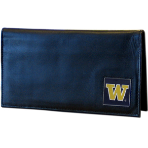 Deluxe College Checkbook Boxed- Washington Huskies - Our deluxe college checkbook cover is made of high quality leather and includes a card holder, clear ID window, and inside zipper pocket for added storage. Team logo square is sculpted and enameled with fine detail. Packaged in a windowed box. Thank you for shopping with CrazedOutSports.com