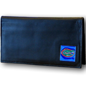Deluxe College Checkbook Boxed- Florida Gators - Our deluxe college checkbook cover is made of high quality leather and includes a card holder, clear ID window, and inside zipper pocket for added storage. Florida Gators team logo square is sculpted and enameled with fine detail. Packaged in a windowed box. Thank you for shopping with CrazedOutSports.com