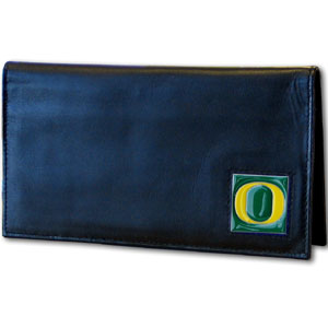 Deluxe College Checkbook Boxed- Oregon Ducks - Our deluxe college checkbook cover is made of high quality leather and includes a card holder, clear ID window, and inside zipper pocket for added storage. Team logo square is sculpted and enameled with fine detail. Packaged in a windowed box. Thank you for shopping with CrazedOutSports.com