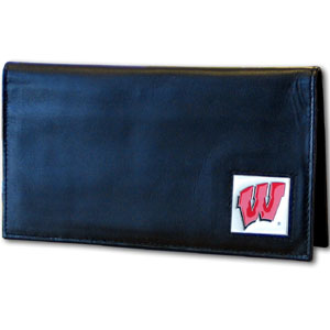 Deluxe College Checkbook Boxed- Wisconsin Badgers - Our deluxe college checkbook cover is made of high quality leather and includes a card holder, clear ID window, and inside zipper pocket for added storage. Team logo square is sculpted and enameled with fine detail. Packaged in a windowed box. Thank you for shopping with CrazedOutSports.com