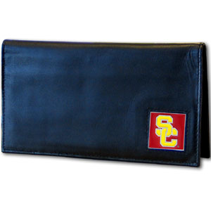Deluxe College Checkbook Boxed- USC Trojans - Our deluxe college checkbook cover is made of high quality leather and includes a card holder, clear ID window, and inside zipper pocket for added storage. Team logo square is sculpted and enameled with fine detail. Packaged in a windowed box. Thank you for shopping with CrazedOutSports.com