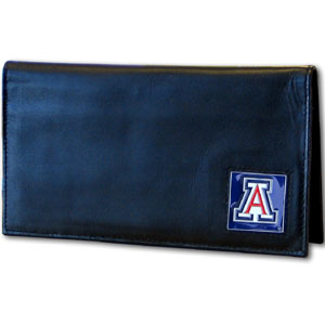 Deluxe College Checkbook Boxed- Arizona Wildcats - Our deluxe college checkbook cover is made of high quality leather and includes a card holder, clear ID window, and inside zipper pocket for added storage. Arizona Wildcats Team logo square is sculpted and enameled with fine detail. Packaged in a windowed box. Thank you for shopping with CrazedOutSports.com