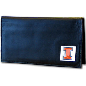 Deluxe College Checkbook Boxed- Illinois Fighting Illini - This deluxe Illinois Fighting Illini college checkbook cover is made of high quality leather and includes a card holder, clear ID window, and inside zipper pocket for added storage. Team logo square is sculpted and enameled with fine detail. Packaged in a windowed box. Thank you for shopping with CrazedOutSports.com