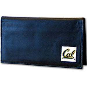 Deluxe College Checkbook Boxed- Cal Berkeley Bears - Our deluxe college checkbook cover is made of high quality leather and includes a card holder, clear ID window, and inside zipper pocket for added storage. Cal Berkeley Bears team logo square is sculpted and enameled with fine detail. Packaged in a windowed box. Thank you for shopping with CrazedOutSports.com