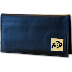 Deluxe College Checkbook Boxed- Colorado Buffaloes - Our deluxe college checkbook cover is made of high quality leather and includes a card holder, clear ID window, and inside zipper pocket for added storage. Colorado Buffaloes logo square is sculpted and enameled with fine detail. Packaged in a windowed box. Thank you for shopping with CrazedOutSports.com