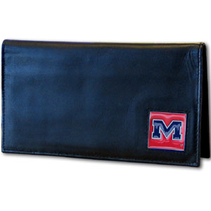 Mississippi Rebels Deluxe College Checkbook Cover  - This Mississippi Rebels Deluxe College Checkbook cover is made of high quality leather and includes a card holder, clear ID window, and inside zipper pocket for added storage. Mississippi Rebels Deluxe College Checkbook Mississippi Rebels Deluxe College Checkbook Boxed has a team logo square that is sculpted and enameled with fine detail. The Mississippi Rebels Deluxe College Checkbook Boxed is packaged in a windowed box. Thank you for shopping with CrazedOutSports.com