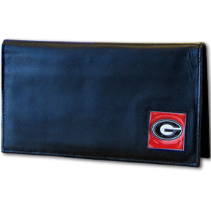 Deluxe College Checkbook Boxed- Georgia Bulldogs - This Georgia Bulldogs deluxe college checkbook cover is made of high quality leather and includes a card holder, clear ID window, and inside zipper pocket for added storage. Team logo square is sculpted and enameled with fine detail. Packaged in a windowed box. Thank you for shopping with CrazedOutSports.com