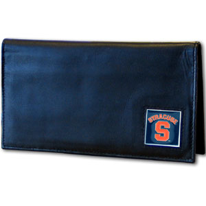 Deluxe College Checkbook Boxed- Syracuse Orange - Our deluxe college checkbook cover is made of high quality leather and includes a card holder, clear ID window, and inside zipper pocket for added storage. Team logo square is sculpted and enameled with fine detail. Packaged in a windowed box. Thank you for shopping with CrazedOutSports.com