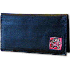Maryland Terrapins Deluxe College Checkbook Cover Boxed - This Maryland Terrapins Deluxe College Checkbook Cover is made of high quality leather and includes a card holder, clear ID window, and inside zipper pocket for added storage. Team logo square is sculpted and enameled with fine detail. Packaged in a windowed box. Thank you for shopping with CrazedOutSports.com