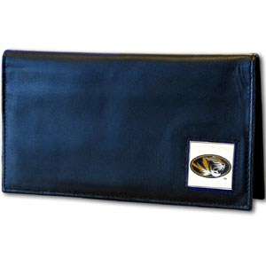 Deluxe College Checkbook Boxed- Missouri Tigers - Our deluxe college checkbook cover is made of high quality leather and includes a card holder, clear ID window, and inside zipper pocket for added storage. Team logo square is sculpted and enameled with fine detail. Packaged in a windowed box. Thank you for shopping with CrazedOutSports.com