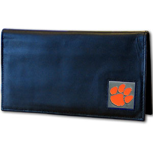 Deluxe College Checkbook Boxed- Clemson Tigers - Our deluxe college checkbook cover is made of high quality leather and includes a card holder, clear ID window, and inside zipper pocket for added storage. Clemson Tigers team logo square is sculpted and enameled with fine detail. Packaged in a windowed box. Thank you for shopping with CrazedOutSports.com