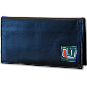 Miami Hurricanes Deluxe College Checkbook Cover Boxed - This Miami Hurricanes deluxe college checkbook cover is made of high quality leather and includes a card holder, clear ID window, and inside zipper pocket for added storage. Team logo square is sculpted and enameled with fine detail. Packaged in a windowed box. Thank you for shopping with CrazedOutSports.com