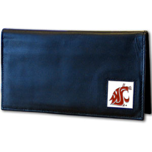 Deluxe College Checkbook Boxed- Washington St. Cougars - Our deluxe college checkbook cover is made of high quality leather and includes a card holder, clear ID window, and inside zipper pocket for added storage. Team logo square is sculpted and enameled with fine detail. Packaged in a windowed box. Thank you for shopping with CrazedOutSports.com