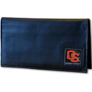 Deluxe College Checkbook Boxed- Oregon State Beavers - Our deluxe college checkbook cover is made of high quality leather and includes a card holder, clear ID window, and inside zipper pocket for added storage. Team logo square is sculpted and enameled with fine detail. Packaged in a windowed box. Thank you for shopping with CrazedOutSports.com
