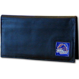 Deluxe College Checkbook Boxed- Boise State Broncos - Our deluxe college checkbook cover is made of high quality leather and includes a card holder, clear ID window, and inside zipper pocket for added storage. Team logo square is sculpted and enameled with fine detail. Packaged in a windowed box. Thank you for shopping with CrazedOutSports.com
