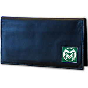 Deluxe College Checkbook Boxed- Colorado State Rams - Our Colorado State Rams deluxe college checkbook cover is made of high quality leather and includes a card holder, clear ID window, and inside zipper pocket for added storage. Team logo square is sculpted and enameled with fine detail. Packaged in a windowed box. Thank you for shopping with CrazedOutSports.com