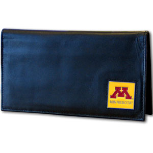 Minnesota Golden Gophers Deluxe Checkbook Boxed - Minnesota Golden Gophers Deluxe Checkbook Boxed is made of high quality leather and includes a card holder, clear ID window, and inside zipper pocket for added storage. Team logo square is sculpted and enameled with fine detail. Minnesota Golden Gophers Deluxe Checkbook Boxed is packaged in a windowed box. Thank you for shopping with CrazedOutSports.com