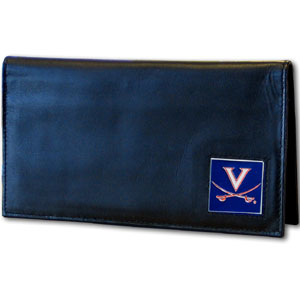 Deluxe College Checkbook Boxed- Virginia Cavaliers - Our deluxe college checkbook cover is made of high quality leather and includes a card holder, clear ID window, and inside zipper pocket for added storage. Team logo square is sculpted and enameled with fine detail. Packaged in a windowed box. Thank you for shopping with CrazedOutSports.com
