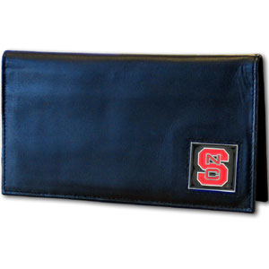 Deluxe College Checkbook Boxed- North Carolina St. Wolfpack - Our deluxe college checkbook cover is made of high quality leather and includes a card holder, clear ID window, and inside zipper pocket for added storage. Team logo square is sculpted and enameled with fine detail. Packaged in a windowed box. Thank you for shopping with CrazedOutSports.com