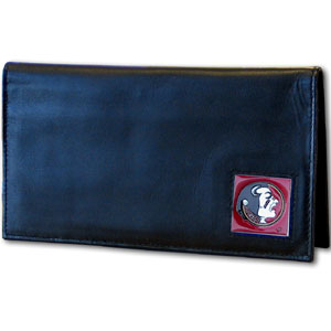 Deluxe College Checkbook Boxed- Florida State Seminoles - Our deluxe Florida State Seminoles college checkbook cover is made of high quality leather and includes a card holder, clear ID window, and inside zipper pocket for added storage. Florida State Seminoles logo square is sculpted and enameled with fine detail. Packaged in a windowed box. Thank you for shopping with CrazedOutSports.com