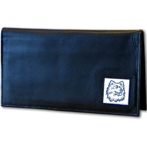 Deluxe College Checkbook Boxed- UCONN Huskies - Our deluxe college checkbook cover is made of high quality leather and includes a card holder, clear ID window, and inside zipper pocket for added storage. Team logo square is sculpted and enameled with fine detail. Packaged in a windowed box. Thank you for shopping with CrazedOutSports.com